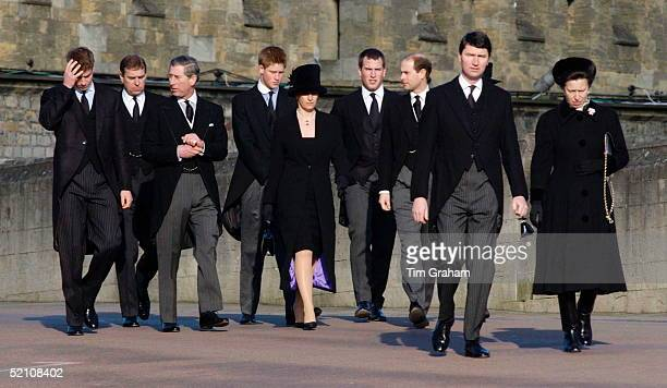 The Royal Family Attending The Funeral Of Princess Margaret At St George's Chapel In Windsor Castle L To R Prince William Duke Of York Prince Charles...
