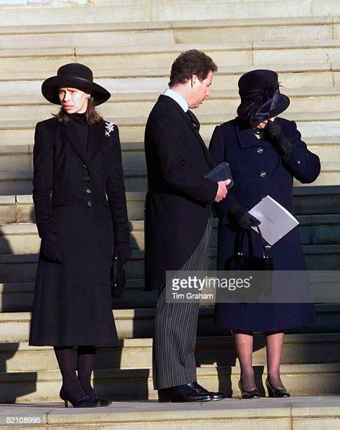 The Royal Family Attending The Funeral Of Princess Margaret At St George's Chapel In Windsor Castle Queen Elizabeth II Gives Way To Her Grief And Is...