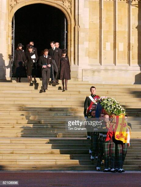 The Royal Family Attending The Funeral Of Princess Margaret At St George's Chapel In Windsor Castle Queen Elizabeth II Walking With Her Sister's...
