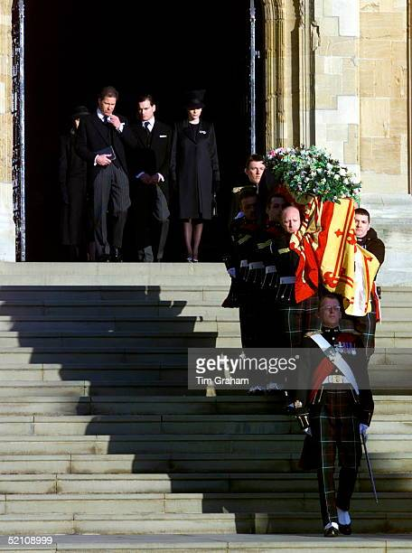 The Royal Family Attending The Funeral Of Princess Margaret At St George's Chapel In Windsor Castle Her Son Lord Linley With His Wife Serena And...