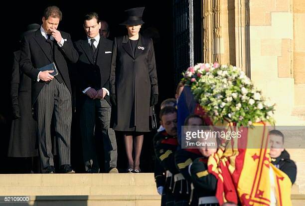 The Royal Family Attending The Funeral Of Princess Margaret At St George's Chapel In Windsor Castle Her Son Lord Linley Is Showing His Grief As He...