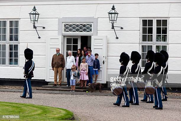 The royal family attends Changing of the Guard during their first day at the summer residence, Graasten Slot in Graasten, Denmark, on July 15, 2016.