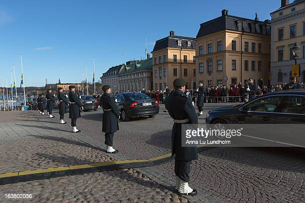 The Royal family cortege through the city at the funeral of Princess Lilian Of Sweden on March 16, 2013 in Stockholm, Sweden.