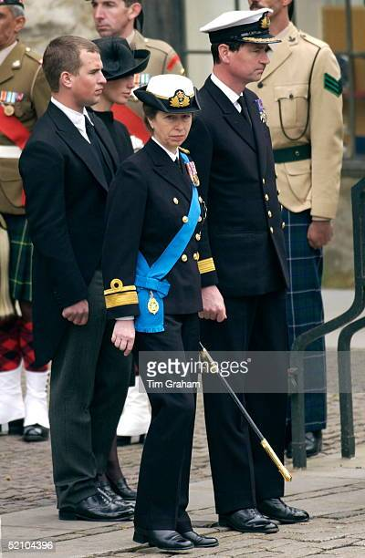 The Royal Family Gather At Westminster Abbey For The Funeral Of The Queen Mother Who Had Lived To The Age Of 101. Princess Anne With Her Husband...