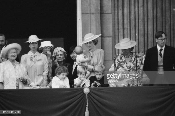 The royal family gather on the balcony of Buckingham Palace in London for the Trooping the Colour ceremony, 15th June 1985. From left to right, Queen...
