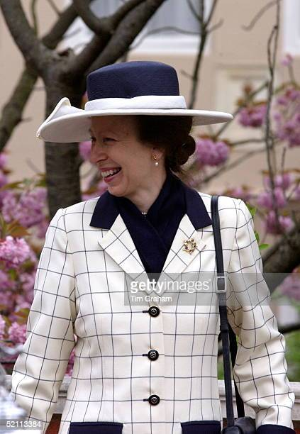 The Royal Family Gathered For Easter Service At Windsor Castle. Princess Anne, The Princess Royal Happy And Laughing In Her Easter Bonnet Hat.