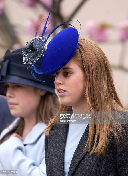 The Royal Family Gathered Together For Easter Service At Windsor Castle. Princess Beatrice And Her Sister Princess Eugenie In Their Easter Bonnet...