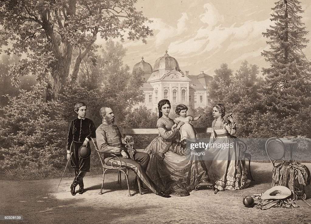 The Royal family in Goedoelloe: Emperor Franz Joseph I and Empress Elisabeth from Austria together with their children archduke Rudolf, Marie Valerie and Gisela in front of the Royal Palace of Godollo. Hungary. Coloured Lithograph by Vincenz Katzler. Prin : News Photo