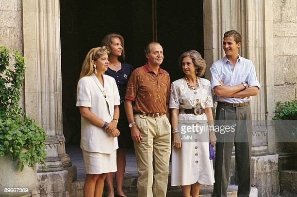 The Royal Family in Mallorca From left to right Infanta Cristina de Borbon Infanta Elena de Borbon King Juan Carlos I Queen Sofia and Prince Felipe...
