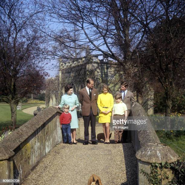The Royal Family in the grounds of Frogmore House Windsor Berkshire Left to right Prince Edward Queen Elizabeth II Duke of Edinburgh Princess Anne...