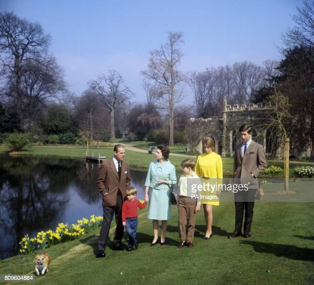The Royal Family in the grounds of Frogmore House Windsor Berkshire Left to right Duke of Edinburgh Prince Edward Queen Elizabeth II Prince Andrew...