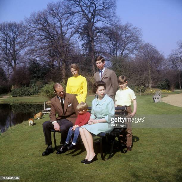 The Royal Family in the grounds of Frogmore House Windsor Berkshire Left to right Duke of Edinburgh Princess Anne Prince Edward Queen Elizabeth II...