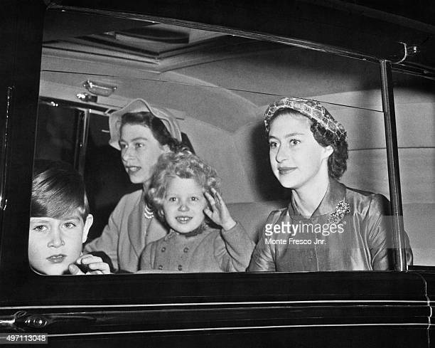 The royal family leave Euston Station in London for the palace after their summer holiday in Balmoral 10th October 1954 Pictured are Queen Elizabeth...