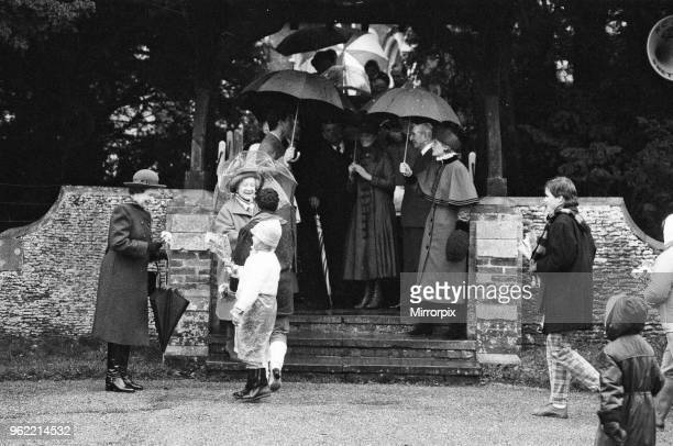 The Royal Family leave St Mary Magdalene Church Sandringham Norfolk after their annual Holiday season church service The rain is falling today so the...