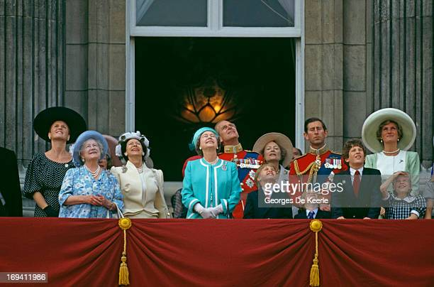 The Royal Family looking up to the sky from the balcony of Buckingham Palace during the Trooping The Colour Ceremony, The Queen's Official Birthday....
