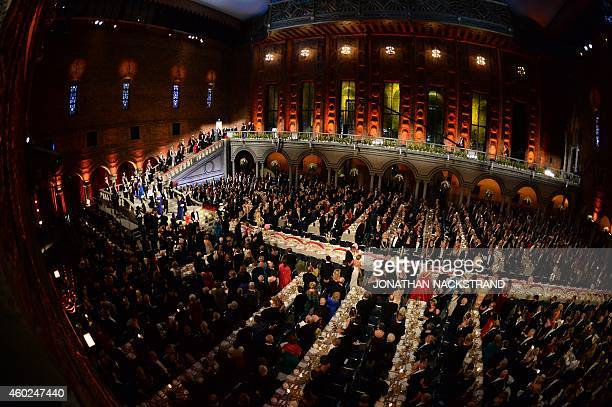 The Royal family Nobel prize laureates and guests arrive for the Nobel banquet a traditional dinner after the Nobel Prize awarding ceremony at the...