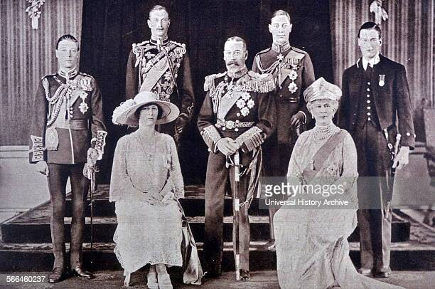 The Royal Family of Great Britain in 1933 Left to Right Edward Later King Edward VIII Mary the Princess Royal Duke of Gloucester King George V George...