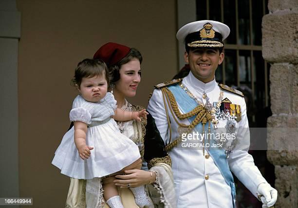Constantin Ii AnneMarie Of Denmark And The Baptism Of The Princess Alexia Athènes 1966 Devant le palais portrait du couple royal CONSTANTIN II en...
