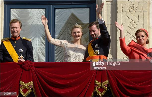 The Royal family of Luxembourg on the balcony of the GrandDucal Palace after the wedding ceremony of Prince Guillaume Of Luxembourg and Stephanie de...