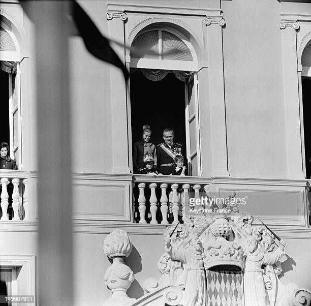 The Royal family of Monaco on palace balcony celebrating principality's National Day Prince Rainier and Princess Grace on November 19 1963 in Monaco