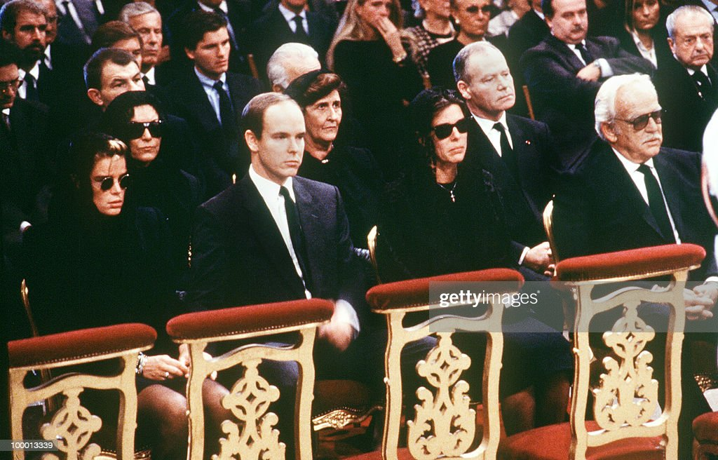 The Royal Family of Monaco, (L-R) Princess Stephanie, Prince Albert, Princess Caroline and Prince Rainier III, attends 06 October 1990 the funeral Mass for Stefano Casiraghi, Princess Caroline's husband, who was killed in an offshore powerboat racing accident off the coast of Monaco 03 October 1990 while defending his World Off-shore title.