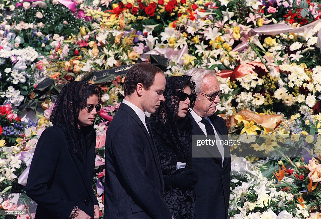 The Royal Family of Monaco, (L-R) Princess Stephanie, Prince Albert, Princess Caroline and Prince Rainier III, arrives 06 October 1990 at the Monaco cathedral for the funeral ceremony for Princess Caroline's husband Stefano Casiraghi who was killed in an offshore powerboat racing accident off the coast of Monaco 03 October 1990 while defending his World Off-shore title.
