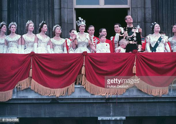 The Royal Family on the balcony of Buckingham Palace after the Coronation of Queen Elizabeth II June 1953 The Queen is center waving From left to...