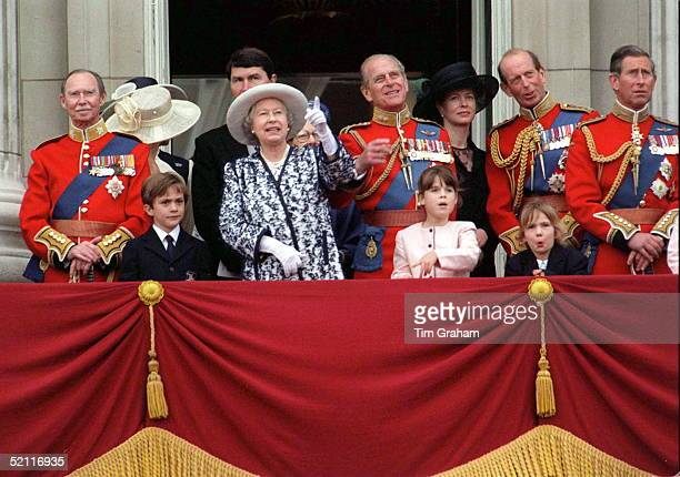The Royal Family On The Balcony Of Buckingham Palace After Trooping The Colour. The Queen And Prince Philip Are Joined B Y Their Grandchildren...