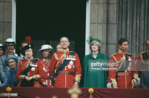 The royal family on the balcony of Buckingham Palace during the Trooping the Colour ceremony, June 1982. Diana, Princess of Wales is heavily pregnant...