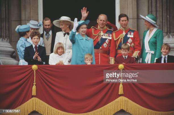 The royal family on the balcony of Buckingham Palace in London during the Trooping the Colour ceremony June 1988 Among them are Queen Elizabeth II...