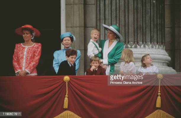 The royal family on the balcony of Buckingham Palace in London during the Trooping the Colour ceremony June 1988 From left to right Queen Noor of...