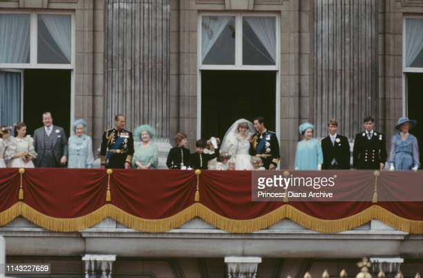 The Royal Family on the balcony of Buckingham Palace to celebrate the wedding of Prince Charles and Diana Princess Of Wales London UK 29th July 1981...