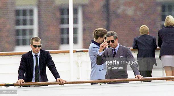The Royal Family On The Royal Yacht Britannia At The Start Of Their Cruise Around The Western Isles Of Scotland Peter Phillips And Prince Charles...