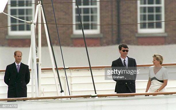 The Royal Family On The Royal Yacht Britannia At The Start Of Their Traditional Cruise Around The Western Isles Of Scotland At The Rail Are Prince...