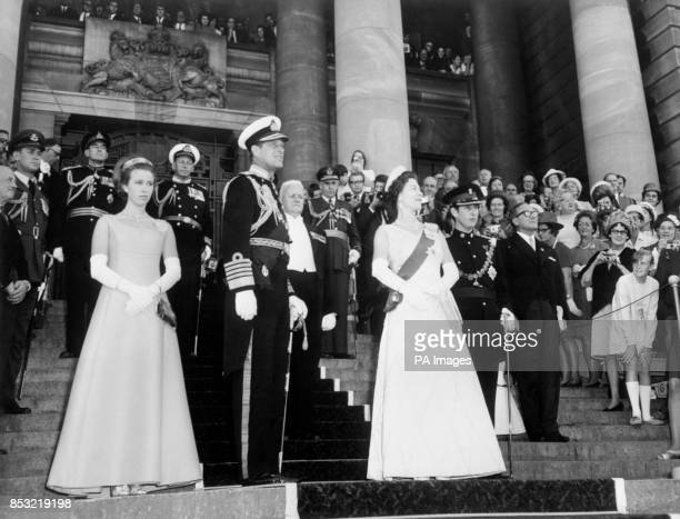 The Royal family on the steps of Parliament Buildings Wellington after the State opening of Parliament by Her Majesty the Queen Princess Margaret...