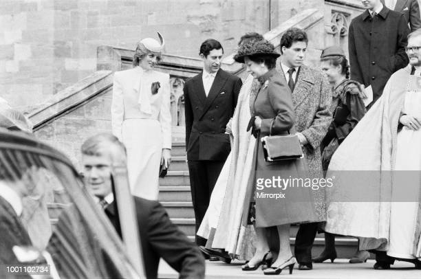The Royal family pictured at St George's Chapel Windsor after the Church service Diana Princess of Wales Charles Prince of Wales Princess Margaret...