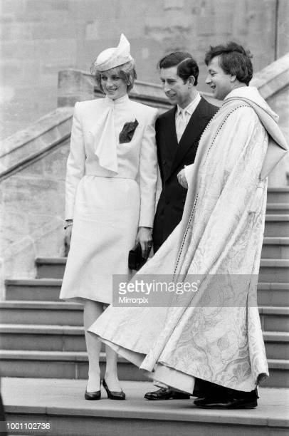 The Royal family pictured at St George's Chapel Windsor after the Church service Diana Princess of Wales and Charles Prince of Wales 25th December...