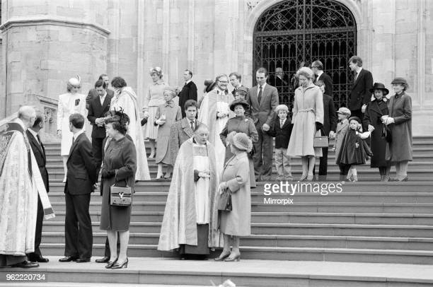 The Royal family pictured at St George's Chapel Windsor after the Church service 25th December 1983