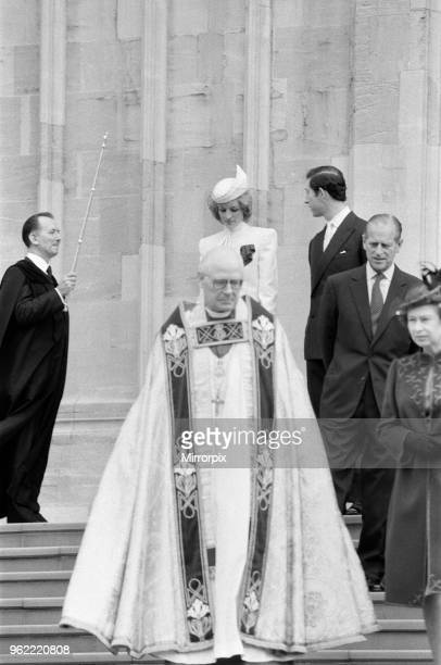 The Royal family pictured at St George's Chapel Windsor after the Church service Diana Princess of Wales Charles Prince of Wales Prince Philip and...