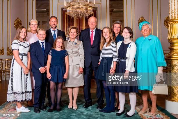 The Royal Family pose for a photo Princess Ingrid Alexandra, Crown Princess Mette-Marit, Prince Sverre Magnus, Emma Tallulah Behn, Crown Prince...
