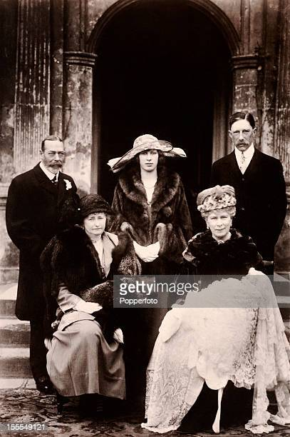The Royal Family poses on the occasion of the christening of George Henry Hubert Lascelles, later the 7th Earl of Harewood, at St Mary's church in...