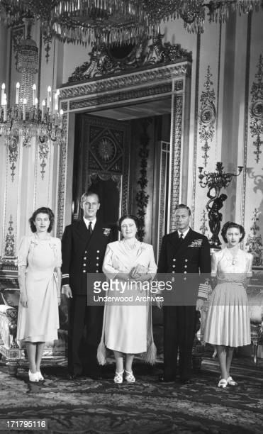 The Royal Family prepares for the wedding of Princess Elizabeth and Phillip Mountbatten London England September 15 1947 LR Princess Elizabeth Lt...
