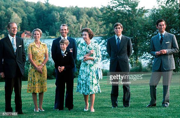 The Royal family : Prince Phillip the Duke of Edinburgh, Princess Anne the Princess Royal, Mark Phillips, the Earl of Wessex, HRH Queen Elizabeth II,...