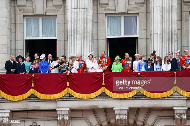 The Royal Family stand on the balcony during the Trooping the Colour this year marking the Queen's official 90th birthday at The Mall on June 11 2016...