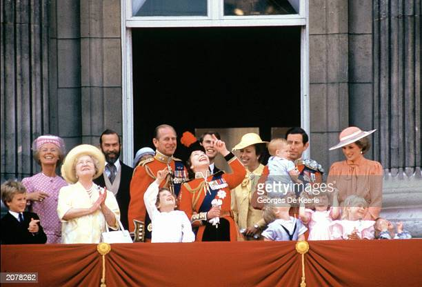 The Royal Family, the Princess of Wales, the Prince of Wales and their children, Prince William and Prince Harry, watch the ceremonies of the...