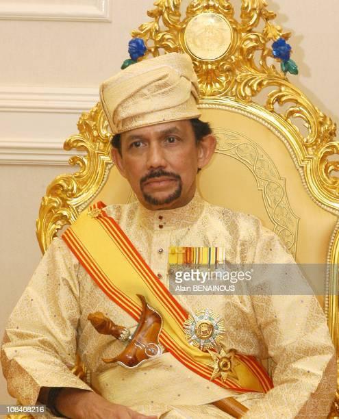 The royal family the Sultan Hassanal Bolkiah and Duli Yang Mulia Pengiran Isteri Azrinaz Mazhar during the Royal Istiadat Berbedak Ceremony at the...