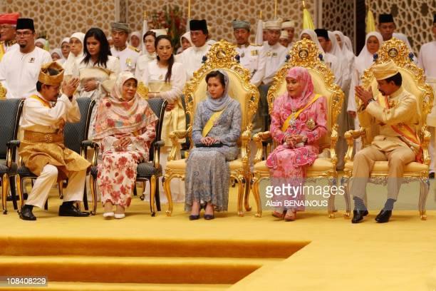 The royal family the Sultan Hassanal Bolkiah and the two queens Kebawab Duli Yang Maha Mulia and Duli Yang Mulia Pengiran Isteri Azrinaz Mazhar...