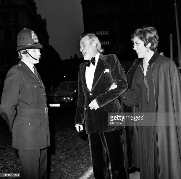 The Royal Film Performance of 'The Three musketeers' at the Odeon Leicester Square, London. Spike Milligan with his wife Paddy Milligan, talking to a...