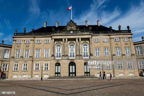 The Royal Flag is raised at Frederik VIII Palace at the Amalienborg Palace complex during the week celebrating the Crown Princes 50th birthday on May...