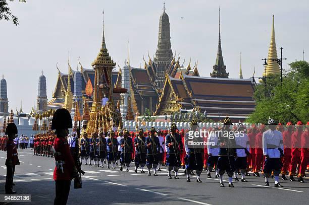 The Royal Great Funeral Chariot bearing the body of Princess Galyani Vadhana sister of Thai King Bhumibol Adulyadej is drawn past the Grand Palace...